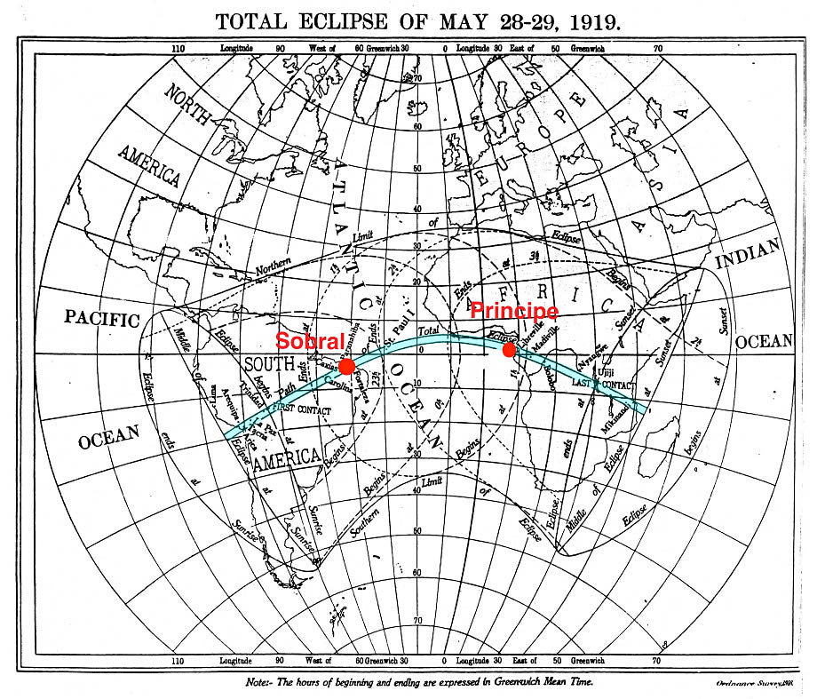 The line of the 1919 total eclipse crossed the equator, stretching from South America to Uganda. Image adapted from the The Nautical Almanac for the year 1919.