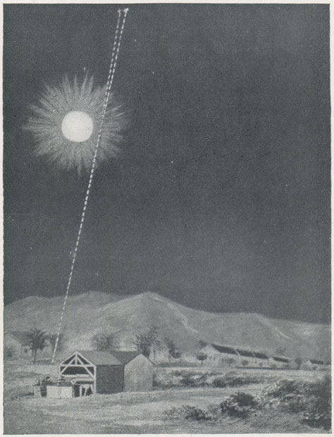 Contemporary graphic showing the deflection of starlight by the sun. Believed to  have been compiled from a composite of two photographs taken at Sobral, it is  similar to an illustration that appeared in The Illustrated London News on 22   November 1919. From Hutchinson's Splendour of the Heavens (1923) where it is  credited to E.N.A