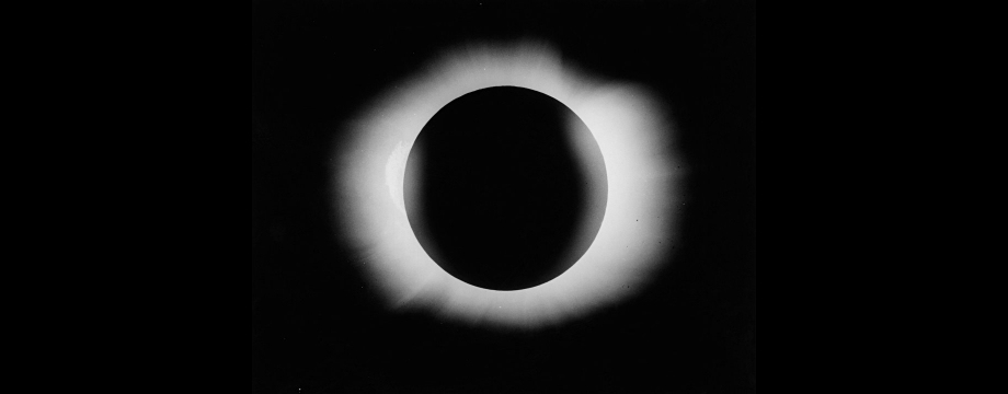 Photograph of the solar eclipse of 29 May 1919 taken by Arthur Eddington and Edwin Cottingham on the island of Principe.